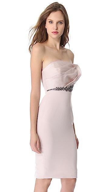 Marchesa Notte Draped Top Cocktail Dress