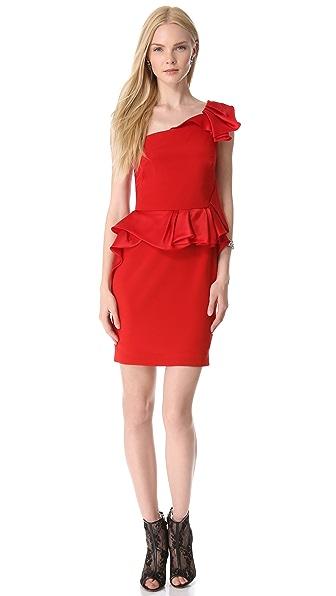 Marchesa Notte Crepe One Shoulder Cocktail Dress