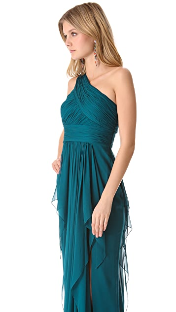 Marchesa Notte One Shoulder Chiffon Gown with Cascading Skirt