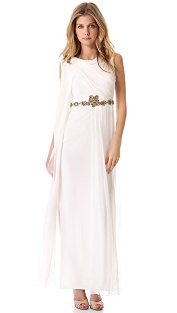 Marchesa Notte Embroidered Chiffon Gown