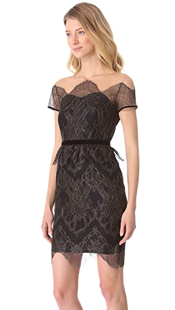 Marchesa Notte Illusion Neckline Cocktail Dress