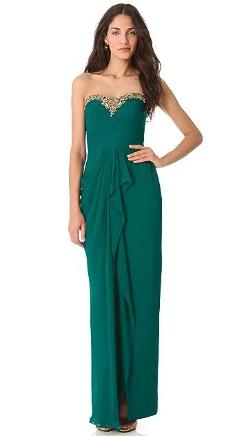 Marchesa Notte Cascade Strapless Gown