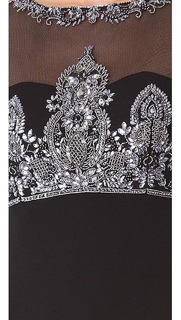 Marchesa Notte Illusion Neckline Gown