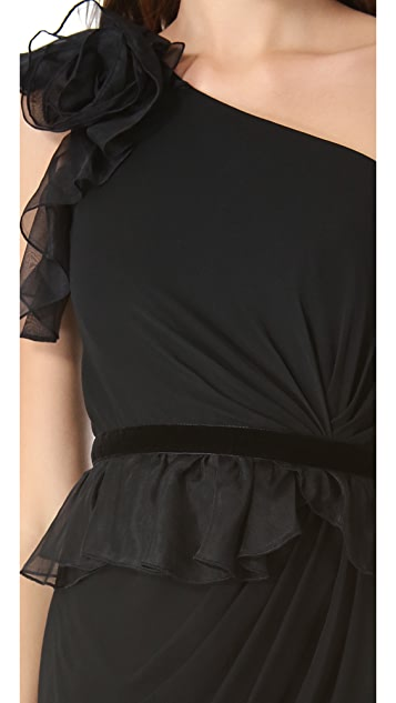 Marchesa Notte One Shoulder Cocktail Dress