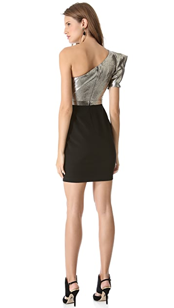 Marchesa Notte Shimmer One Shoulder Dress