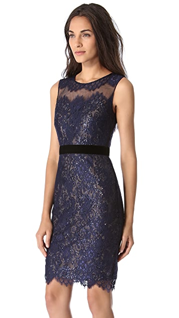 Marchesa Notte Lace Dress with Sequin Layer