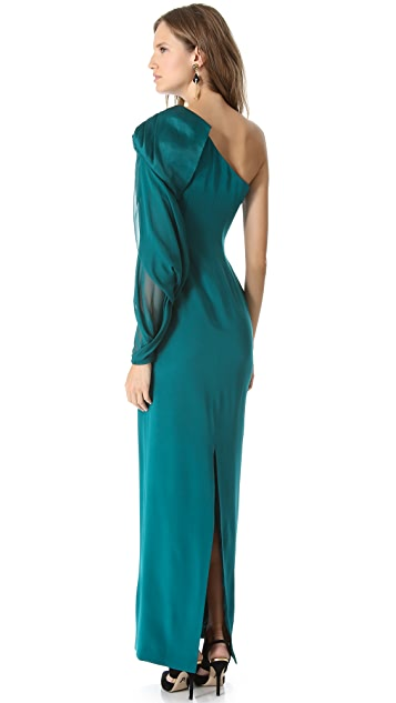 Marchesa Notte One Shoulder Crepe Gown