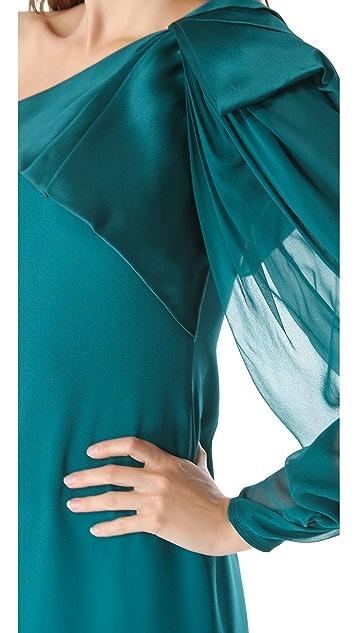Marchesa Notte One Shoulder Crepe Gown