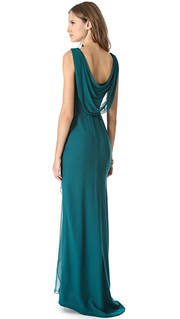 Marchesa Notte Ruched Silk Gown with Applique