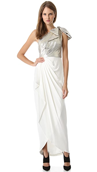Marchesa Notte One Shoulder Gown