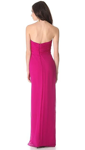 Marchesa Notte Strapless Silk Chiffon Gown
