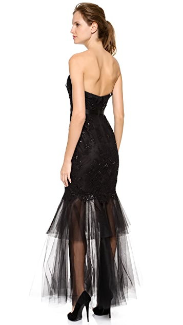 Marchesa Notte Embroidered Lace Mermaid Gown