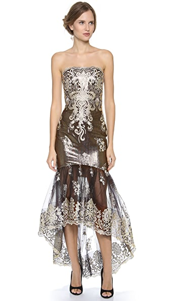Marchesa Notte Strapless Embroidered Lace Gown
