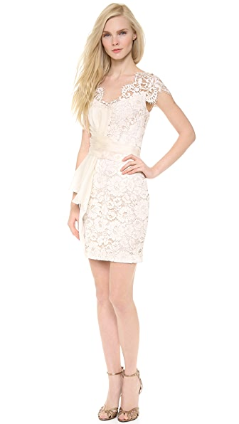 Marchesa Notte Lace Cap Sleeve Cocktail Dress