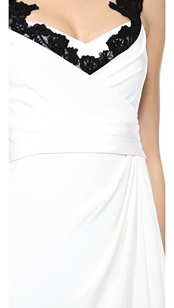 Marchesa Notte Silk Crepe Dress