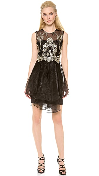 Marchesa Notte Sleeveless Organza Cocktail Dress