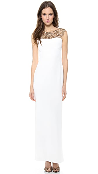Marchesa Notte Silk Crepe Column Dress