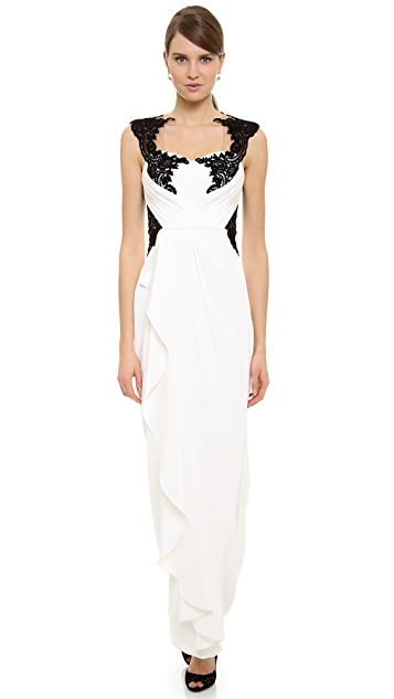 Marchesa Notte Lace Applique Gown