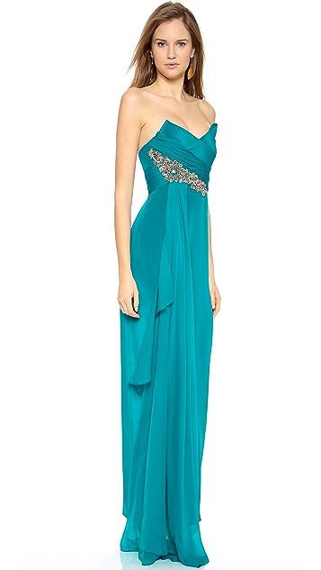 Marchesa Notte Silk Crepe Gown
