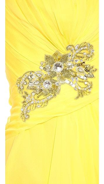 Marchesa Notte Strapless Draped Chiffon Gown