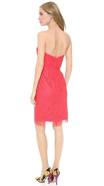 Marchesa Notte Strapless Lace Cocktail Dress
