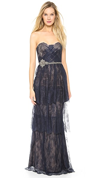 Marchesa Notte Strapless Tiered Lace Gown