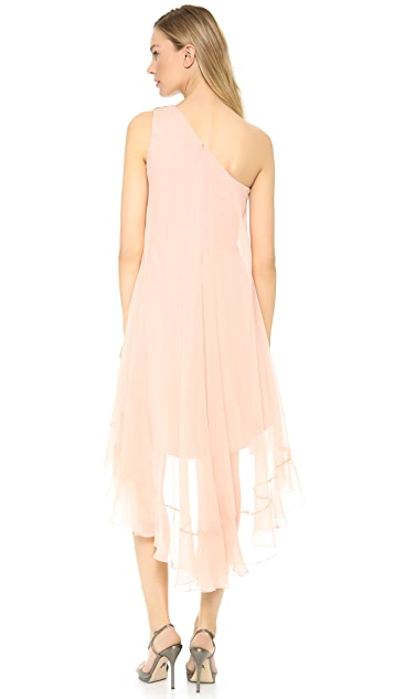 Marchesa Notte One Shoulder Chiffon Cocktail Dress