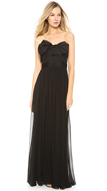 Marchesa Notte Strapless Chiffon Gown with Organza Bow