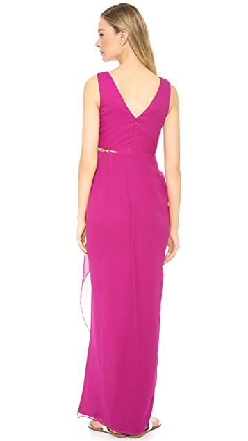 Marchesa Notte Chiffon Gown with Cascading Skirt