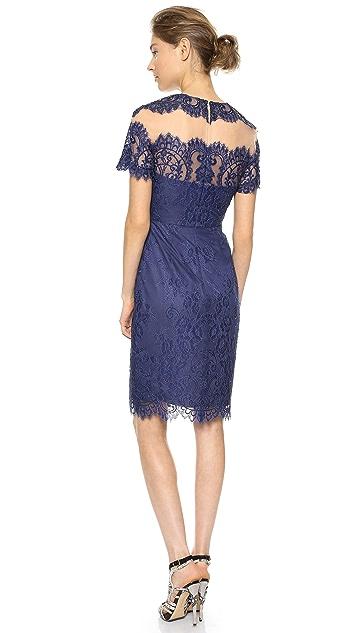 Marchesa Notte Short Sleeve Cocktail Dress