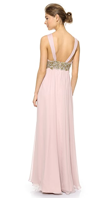 Marchesa Notte Silk Chiffon Draped Gown