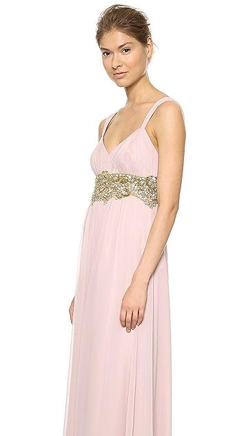 Marchesa Notte Silk Chiffon Draped Gown