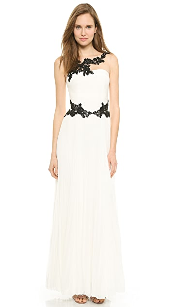 Marchesa Notte Illusion Neckline Gown