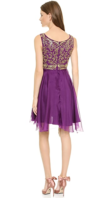 Marchesa Notte Silk Organza Cocktail Dress