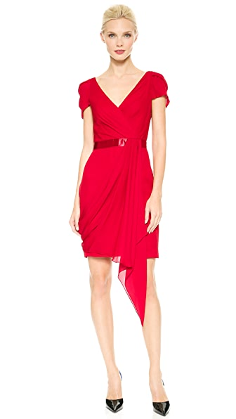 Marchesa Notte Draped Cocktail Dress