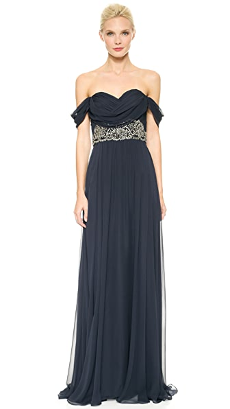 Marchesa Notte Draped Chiffon Gown