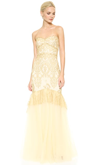Marchesa Notte Strapless Metallic Lace Mermaid Gown