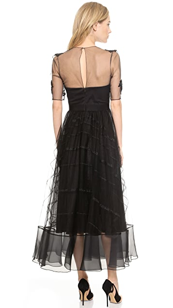 Marchesa Notte Tea Length Dress with Tulle Skirt