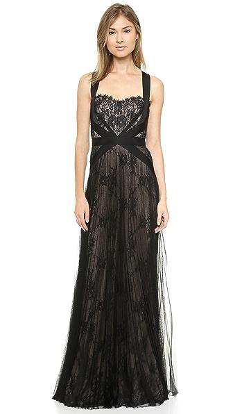 Marchesa Notte Lace & Mesh Gown
