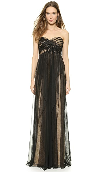 Marchesa Notte Strapless Lace Gown with Draped Tulle Overlay