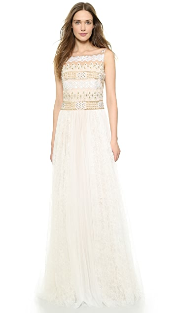 Marchesa Notte Beaded Pleat Gown