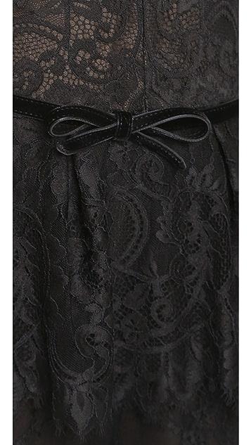 Marchesa Notte V-Neck Lace Jumpsuit