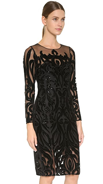 Marchesa Notte Long Sleeve Dress