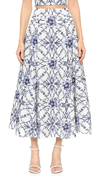 Marchesa Notte Floral Print Skirt