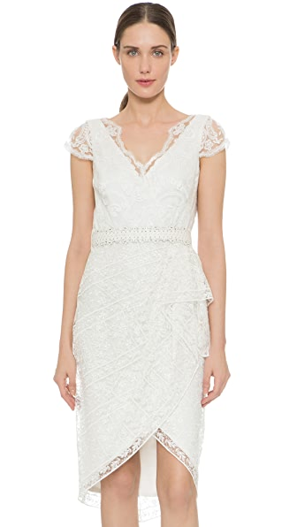 Marchesa Notte Cap Sleeve Lace Cocktail Dress