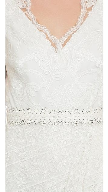 Marchesa Notte Cap Sleeve Lace Cocktail Dress