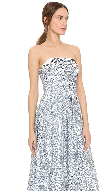 Marchesa Notte Mosaic Strapless Lace Gown