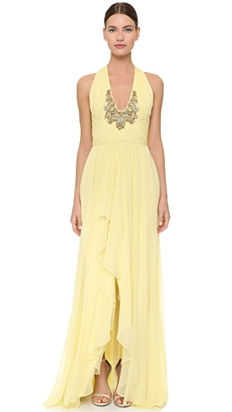 Marchesa Notte Gown With Embroidered Neckline - Lemon