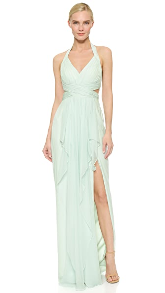 Marchesa Notte Draped Silk Chiffon Halter Gown