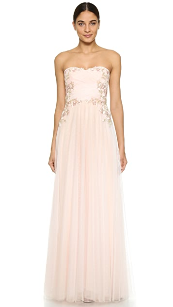 Marchesa Notte Strapless Draped Gown